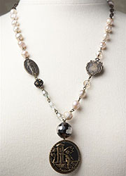 Blush Freshwater Pearl Necklace With Immaculate Medals