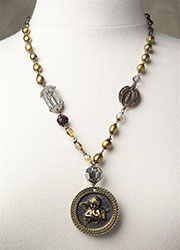 Late 1800's Cupid Picture Button Necklace with Vintage Medals
