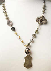 1800's Brass Medallion and Gold Freshwater Pearl Necklace