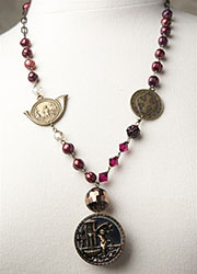 Ruby Freshwater Pearl Necklace with Antique French Medals
