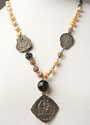 Peach Pearl Necklace with Bronze 'Our Lady of France' Medallion