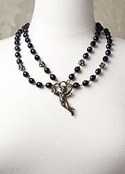 Deep Purple Vintage Necklace with Hanging Cupid