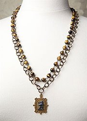 Vintage Brass Chain with Tiger Eye Beads and a 1940's Brass Celtic Lion Medal