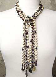 Long Multi-Stranded Cream Bone and Vintage Deep Blue Beading with Various Antique Medals