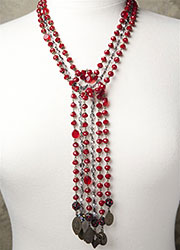 Multi-Stranded Vintage Red Velvet and Smoke Black Beading with Various Antique Medals