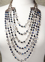 Multi-Stranded Vintage Glass Blue and Spotted Frost Beading with Vintage Filigree